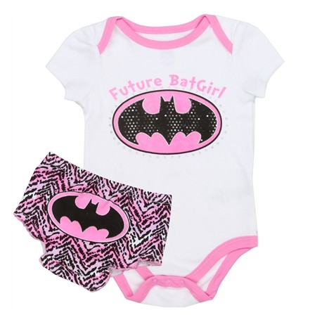 DC Comics Future Batgirl White Onesie With Pink and Black Bat Signal, Diaper Cover Space City Kids Clothing