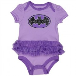 DC Comics Batgirl Purple Onesie Black and Purple Bat Signal With Purple Tutu