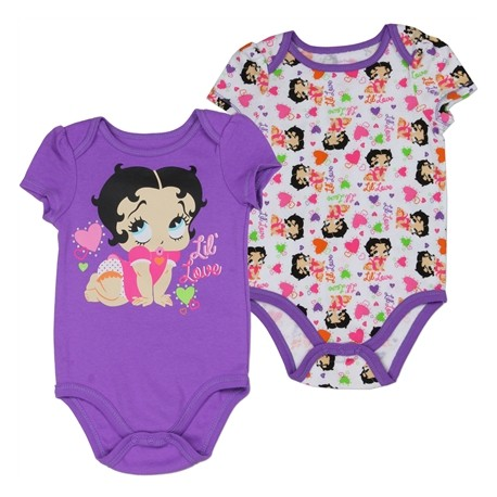 Betty Boop Baby Boop Lil Love Purple Creeper With All Over Print White Creeper