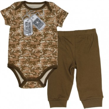 US Army Newest Recruit Brown Camo Baby Onesie And Brown Pants
