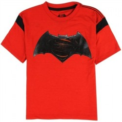 DC Comics Batman vs Superman Black Bat Signal Red Short Sleeve Boys Shirt