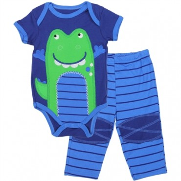 Buster Brown Blue Onesie With Alligator And Blue Pants