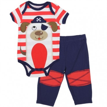 Buster Brown Pirate Red And White Stripe Onesie With Blue Pants