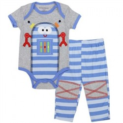 Buster Brown Robot On Grey Onesie With Blue Striped Pants