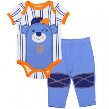 Buster Brown Bear Wearing Baseball Cap On White Onesie And Blue Pants