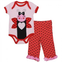 Buster Brown Ladybug Red And White Striped Onesie With Smiling Ladybug