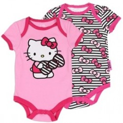 Hello Kitty Pink Embroidered Onesie And Black Striped Onesie With Bows