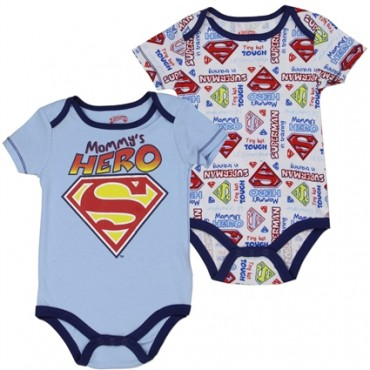 DC Comics Superman Mommy's Hero Blue 2 Piece Onesie Set Tiny But Tough Superman In Training