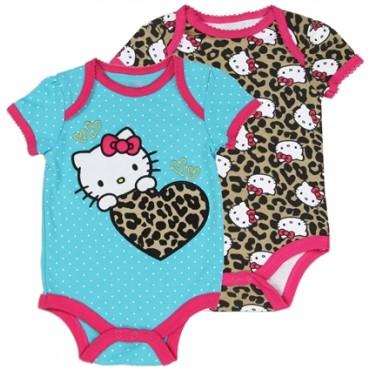 Hello Kitty Blue Baby Onesie And Animal Print Baby Onesie