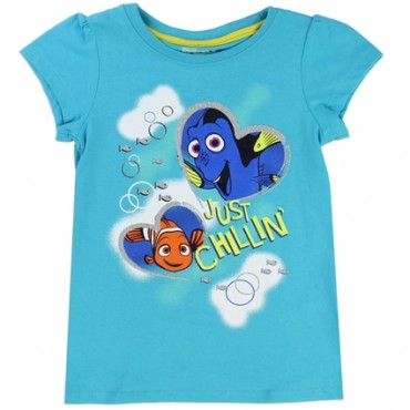 Disney Finding Dory Just Chillin Turquoise Toddler Girls Shirt