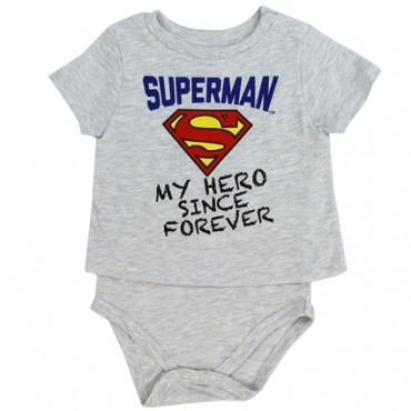 Superman Is My Hero Since Forever Grey Baby T Shirt Onesie