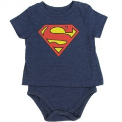 DC Comics Superman Blue T Shirt Onesie With Shield At Space City Kids