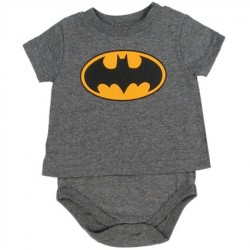 DC Comics Grey T Shirt Onesie With Yellow Bat Signal