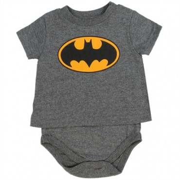 DC Comics Grey T Shirt Onesie WithYellow Bat Signal At Space City Kids