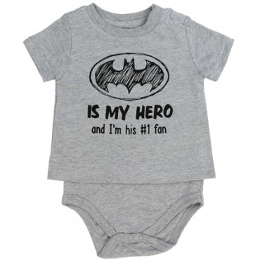 Batman Is My Hero And I'm His Number 1 Fan Grey T Shirt Onesie At Space City Kids