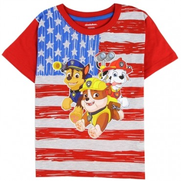 Nick Jr Paw Patrol US Flag Shirt With Chase Marshall And Rubble at Space City Kids Clothing Store