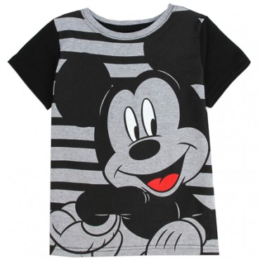 Disney Mickey Mouse Black And Grey Striped Toddler T Shirt At Space City Kids