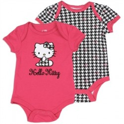 Hello Ktty Black And Pink 2 Piece Onesie Set