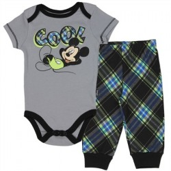 Disney Mickey Mouse Cool Grey Onesie With Black Trim And Matching Plaid Pants Space City Kids