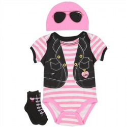 Nuby Pink Biker Printed Onesie Pink Hat And Black Socks