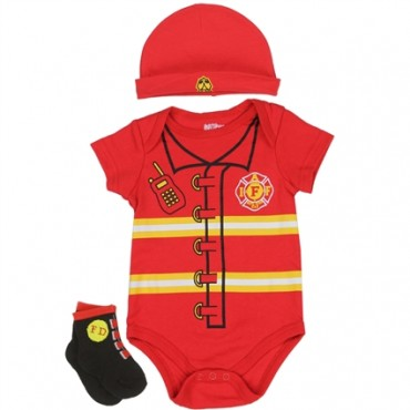 Nuby Fireman Red Onesie Red Hat And Black Socks At Space City Kids
