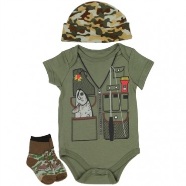 Nuby Green Fishing Onesie Green Camo Hat and Socks At Space City Kids