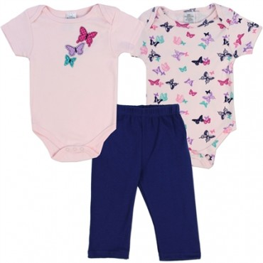 Little Beginnings 2 Pink Butterfly Onesies and Blue Pants At Space City Kids