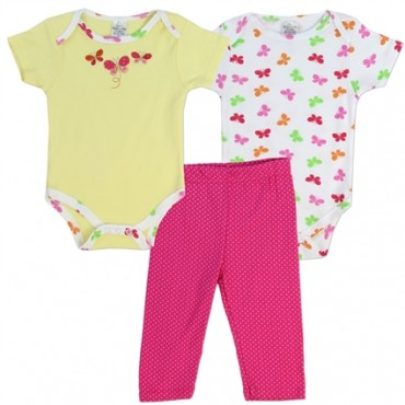 Little Beginnings Yellow And White Butterfly Onesies And Pink Pants at Space City Kids