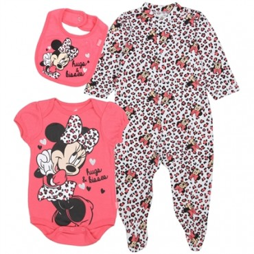 Disney Minnie Mouse Hugs and Kisses 3 Piece Layette Set At Space City Kids