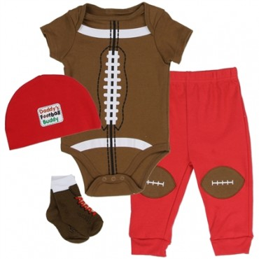 Nuby Brown Football Onesie Pants Hat and Sock 4 Pc Set At Space City Kids Clothing Conroe Texas