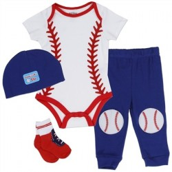 Nuby Daddy's Little Star White Baseball Onesie Red Socks With Blue Hat and Pants 4 Piece Layette Set