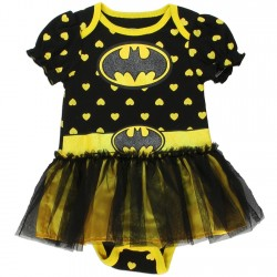 DC Comics Batgirl Black Onesie With Yellow Hearts And Black Tutu