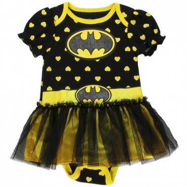 DC Comics Batgirl Black Onesie With Yellow Hearts And Black Tutu Space City Kids Clothing