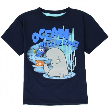 Disney Finding Dory Navy Blue Short Sleeve Shirt Featuring Dory Nemo And Bailey At Space City Kids