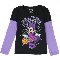 Disney Minnie Mouse Long Sleeve Boo-Tiful Black and Purple Halloween Shirt At Space City Kids Clothing