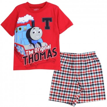 Thomas and Friends The Original Thomas Red Shirt With Red and White Plaid Shorts Space city Kids Clothing