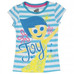 Disney Pixar Inside Out Joy Blue And White Striped Graphic T Shirt