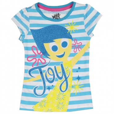 Disney Inside Out Blue And White Striped Joy Girls T Shirt At Space City Kids Clothing Store
