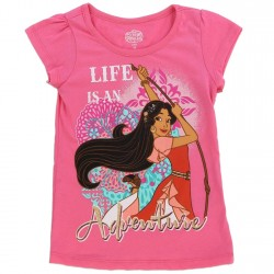 Dinsey Princess Elena of Avalor Life Is An Adventure Pink Girls Shirt