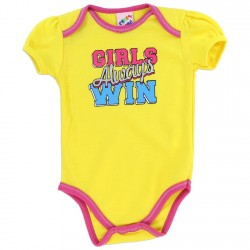 Coney Island Girls Always Win Girls Yellow Baby Onesie