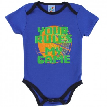 Coney Island Your Rules My Game Blue Onesie At Space City Kids Clothing