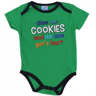 Coney Island Give Me Cookies And No One Gets Hurt Green Onesie At Space City Kids Clothing