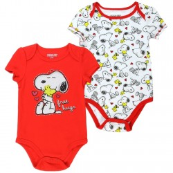 Peanuts Snoopy And Woodstock Free Hugs Red Onesie And White Printed Onesie