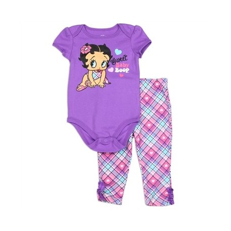 Betty Boop Sweet Baby Boop Onesie And Plaid Pants