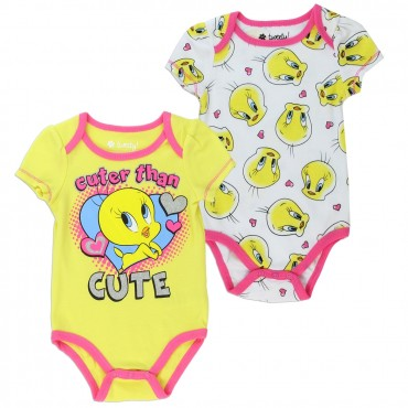 Looney Tunes Tweety Bird Cuter Than Cute 2 Piece Baby Onesie Set Space City Kids Clothing