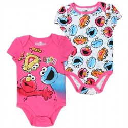 Sesame Street Elmo Cookie Monster And Zoe BFF's Pink 2 Piece Onesie Set