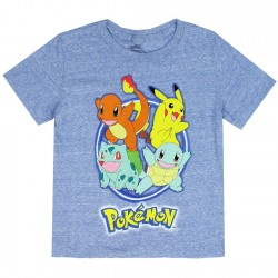Pokemon Pikachu And Friends Character Heather Blue Boys Shirt