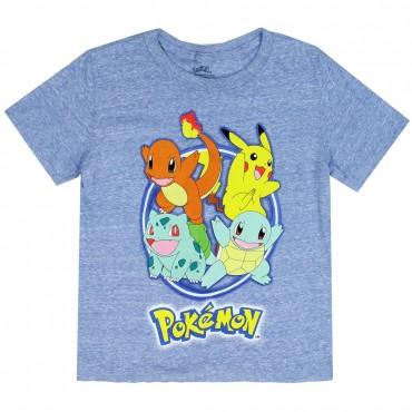 Pokemon Pikachu And Friends Character Heather Blue Boys Shirt At Kids Fashion Clothing Store