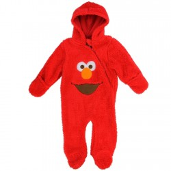 Sesame Street Elmo Red Infant Front Zippered Hooded Sherpa Pram At Space City Kids Clothing