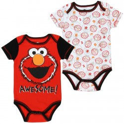 Sesame Street Elmo Awesome Red And White 2 Piece Onesie Set At Space City Kids